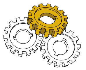 vector cogwheels - business network (isolated illustration)