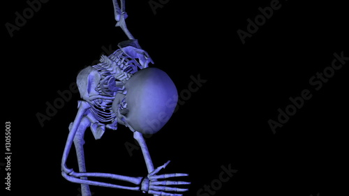 Skeleton classical dancing. CG. HD.