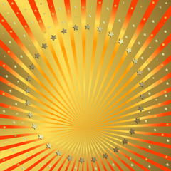 Golden background with orange beams and stars (vector)