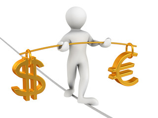 Man walking on a rope. Balance of dollar and euro