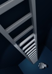 Way to success 3d man looking up of a staircase conceptual image