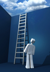 Opportunity to success 3d man looking at the staircase and cloud