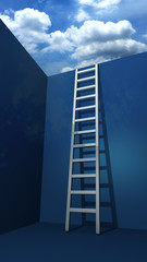 A staircase to freedom 3d rendered illustration