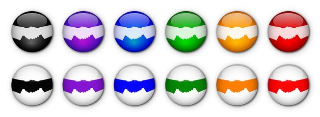 """Boutons """"Poignée de Mains"""" (x12 - Multicolores)"""