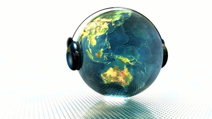 3D music globe with headphones