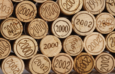 background of cork tops with years