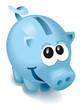 süßes blaues Sparschwein