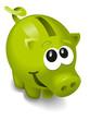 lächelndes grünes Sparschwein