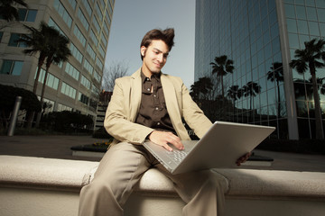 Businessman on a laptop