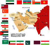 Middle East map with various flag poster