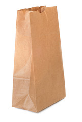 Brown paper bag over white background