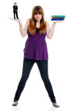 female teenager balancing boyfriend and school work poster