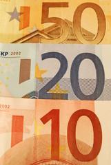 50, 20, 10 Euro Bills (Close Up)