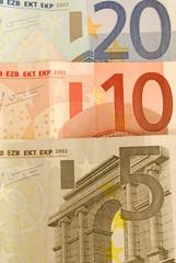 20, 10 and 5 Euro Bills