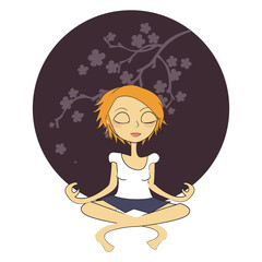 femme yoga rond violet