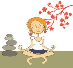 femme zen pierres fleurs