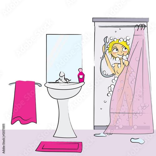 Comment dessiner une douche for Se doucher dans une baignoire