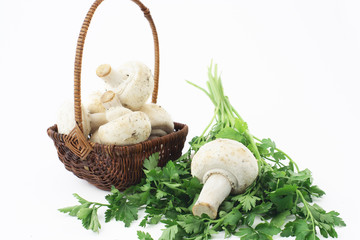A little basket, parsley and mushrooms
