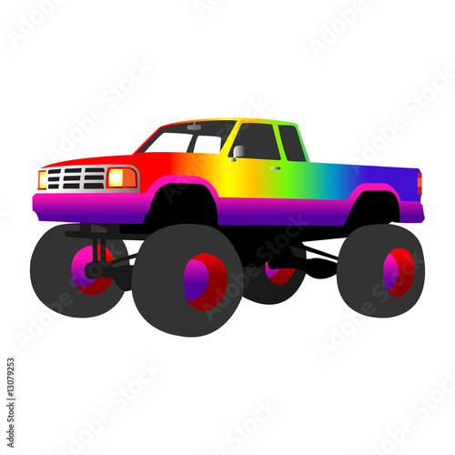 Keuken foto achterwand Cartoon cars rainbow monster truck