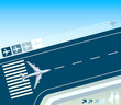 roleta: Airplane at the take-off strip concept illustration