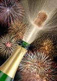 Feuerwerk Neujahr Fest Feier Party Flasche Sekt mit Korken poster