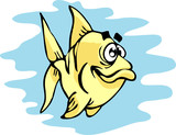 Fish fool - cartoon animals vector poster
