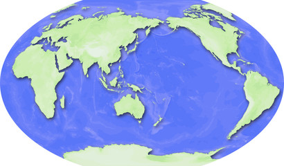 World Map - Robinson Projection - Japan Centered