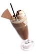 Eiskaffee mit Waffel und Strohhalm