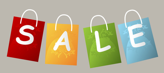 Set of price tags spelling out SALE on grey background
