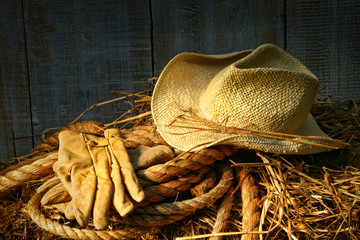 Straw hat with gloves on a bale of hay