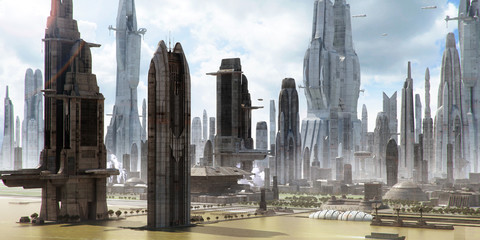 Science-fiction city landscape (matte painting)