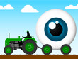 Tractor pulling the eye of giant