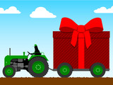 Tractor pulling a huge parcel poster