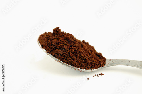 Close-up of spoon full of coffee powder