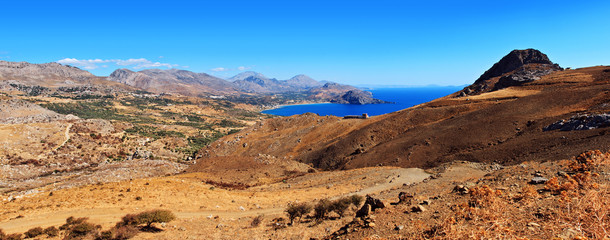 pano of Crete mountains and sea