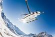Leinwanddruck Bild - Heli Skiing Helicopter