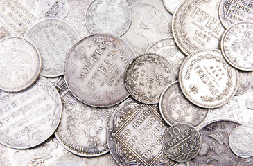 Old russian silver coins background (part 2)