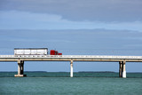 Truck driving on Bahia Honda bridge, Florida Keys
