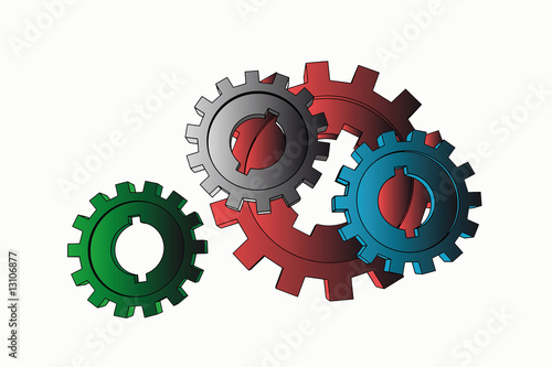 vector cogwheels - business network (isolated illustration)