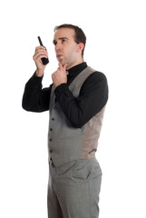 Businessman On Walkie Talkie