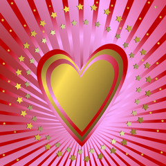 Pink  background with heart, red beams and stars