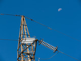 High-voltage electrical insulator electric line (moon poster