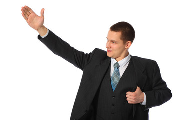 young businessman with raised hand