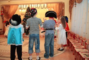 Children on New Year's holiday in kindergarten