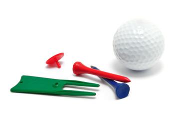 Golf Ball, Tees, Marker, and Divot Repair Tool