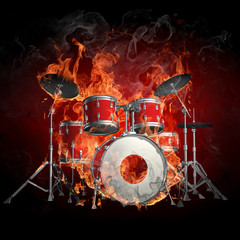 Drums in fire