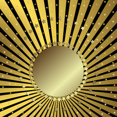Black background with golden beams and stars (vector)