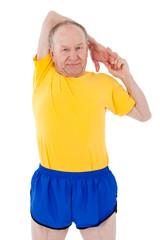 Active senior man. Stretching