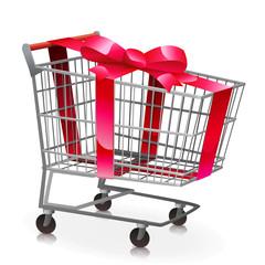 Chariot de supermarché vide et son ruban rouge (reflet)
