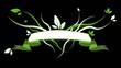 Bannière fleur verte fond noir